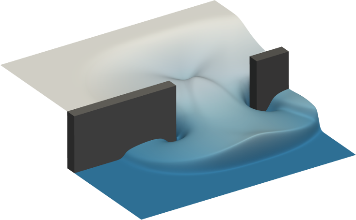 A two-dimensional dam break simulation performed using Firedrake-Fluids.